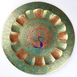 《Vintage》 Hand painted brass wall hanging